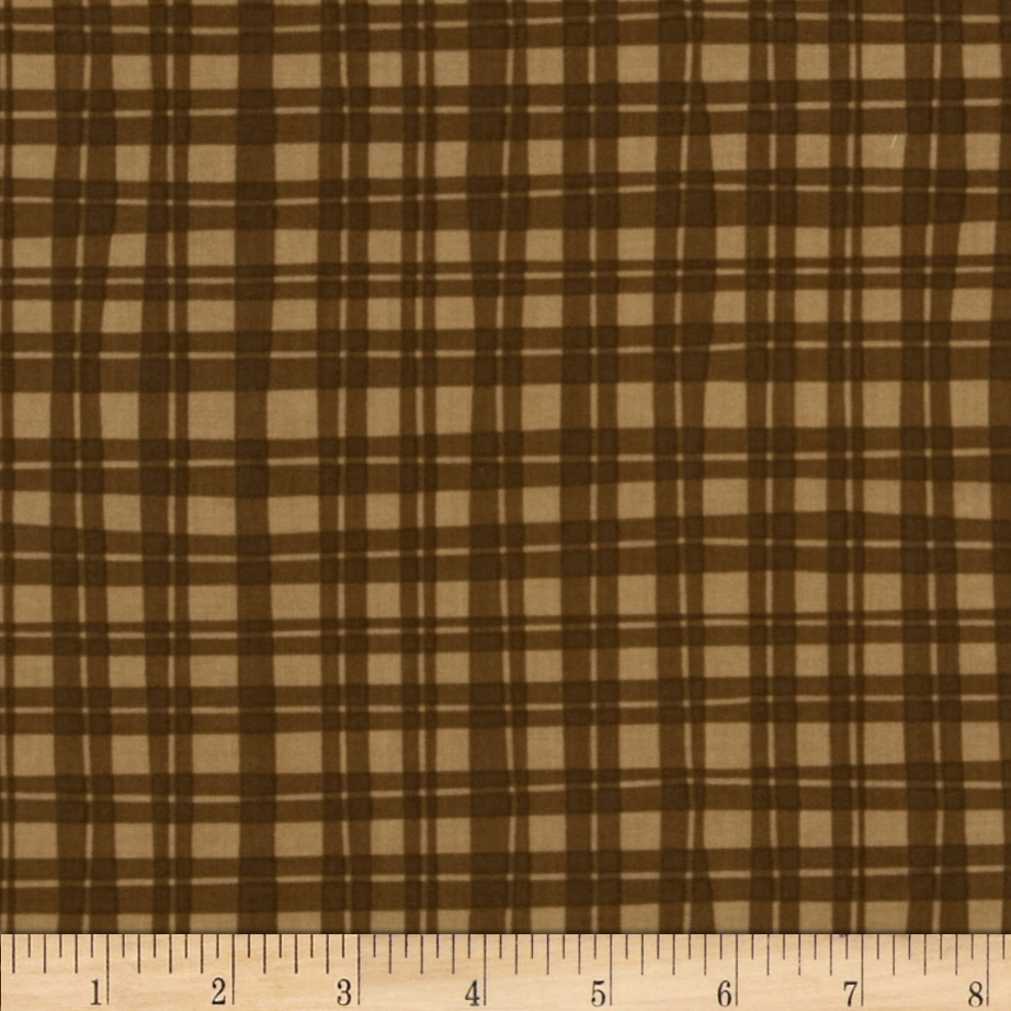 Naughty Puppies Puppy Gingham Brown Fabric