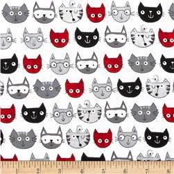Timeless Treasures Cat Faces Grey