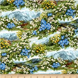 Moda Wild Blue Yonder Mountain Flowers Summer