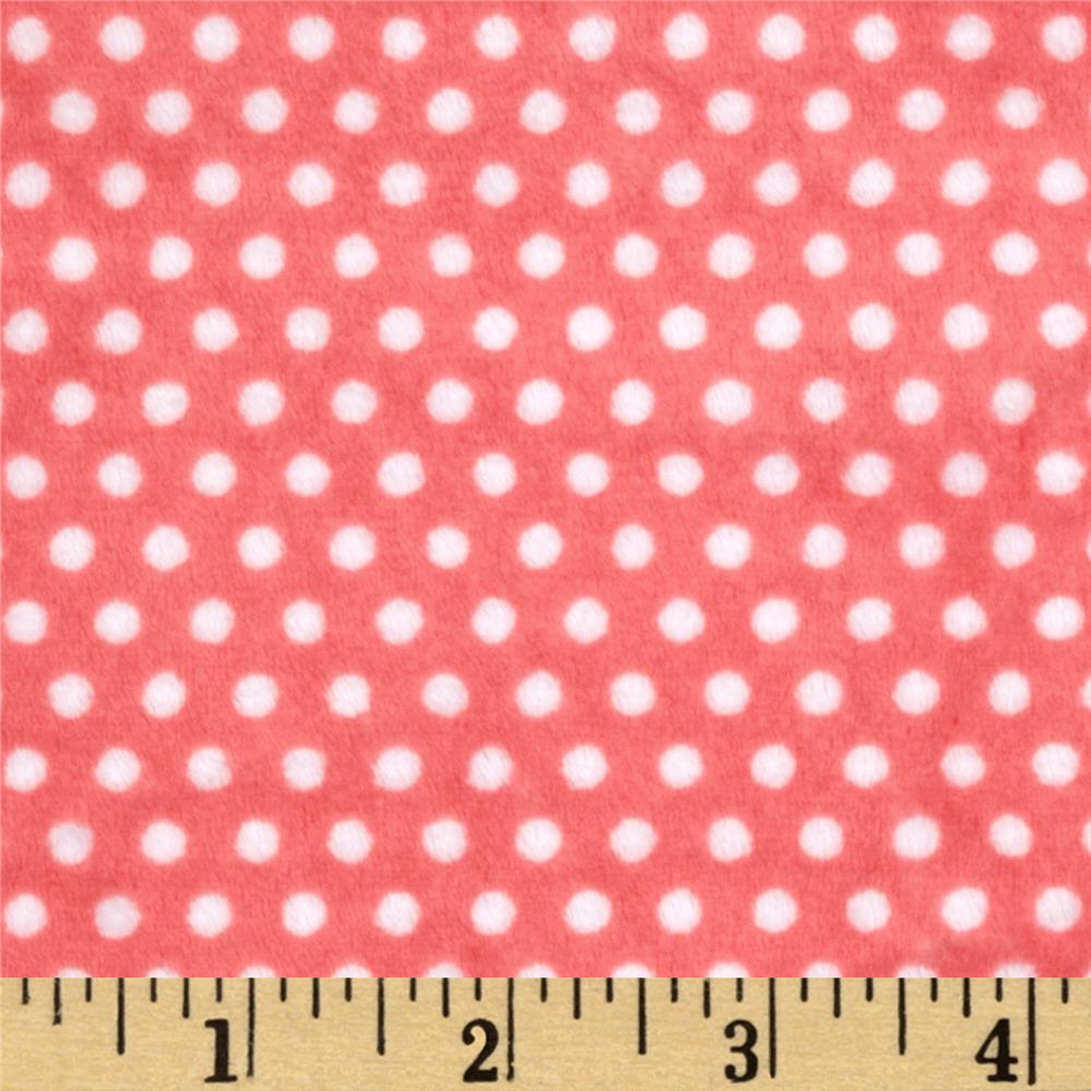 Minky Cuddle Classic Swiss Dot Coral/Snow