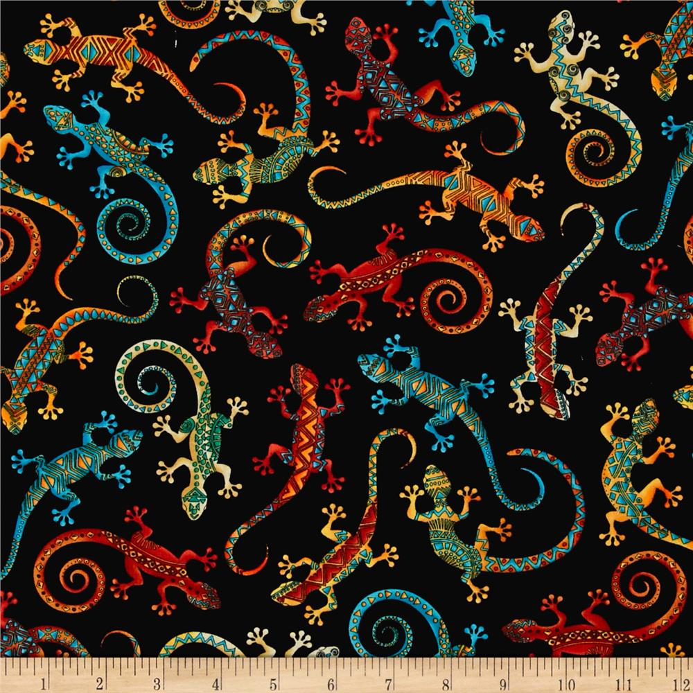 Timeless treasures out west geckos black discount for Fabric mural designs