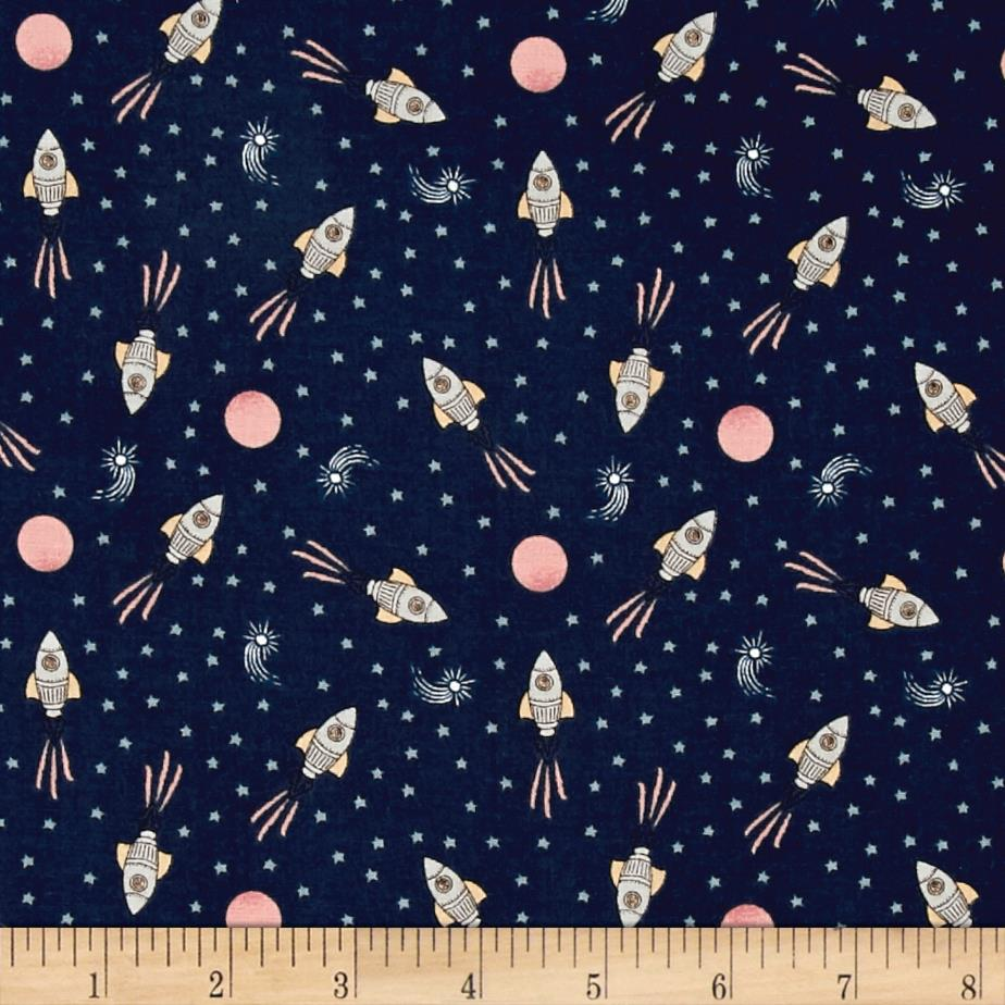 To the moon back rockets navy grey discount designer for Space themed fleece fabric