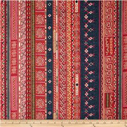 Mandalay Metallic Woven Stripe Pomegranate/Gold