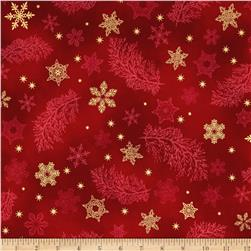 Kaufman Holiday Flourish Metallics Snowflake & Sprigs Holiday