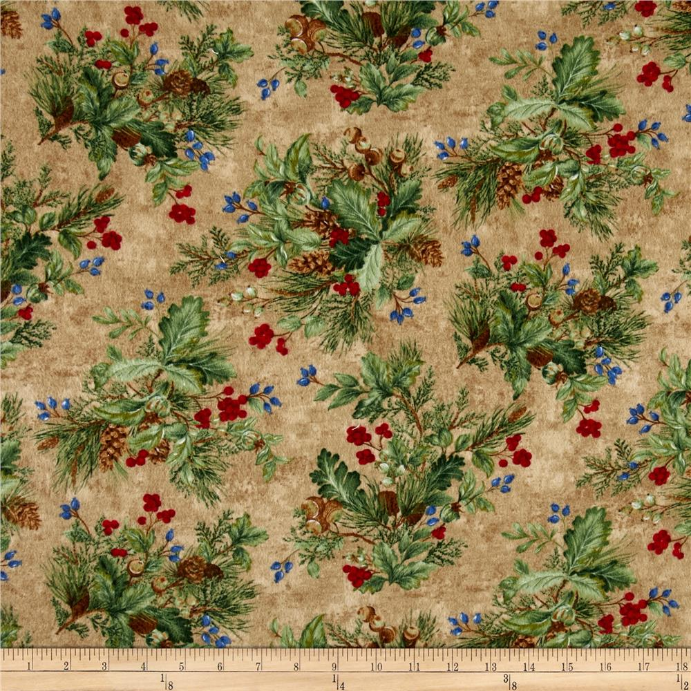 Timeless Treasures Winter Memories Flannel Foliage Tan