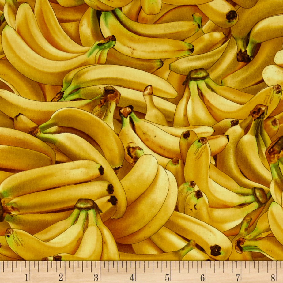 Food Festival Packed Bananas Yellow Fabric by Elizabeth Studios in USA