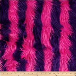 Fun Shag Faux Fur Ribbon Stripes Hot Pink/Purple