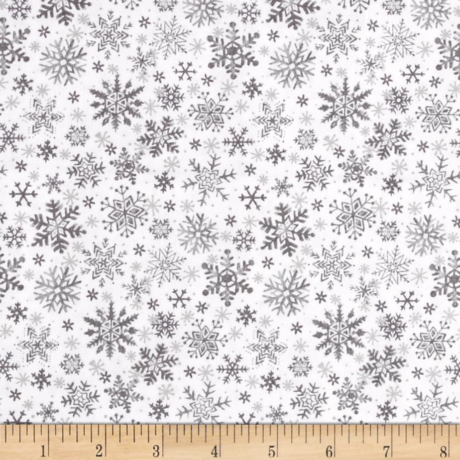 Seasons Greetings Snowflake Grey