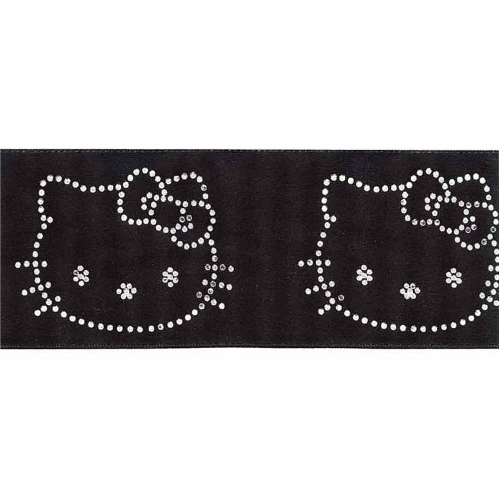 "7/8"" Hello Kitty Ribbon Black/White"
