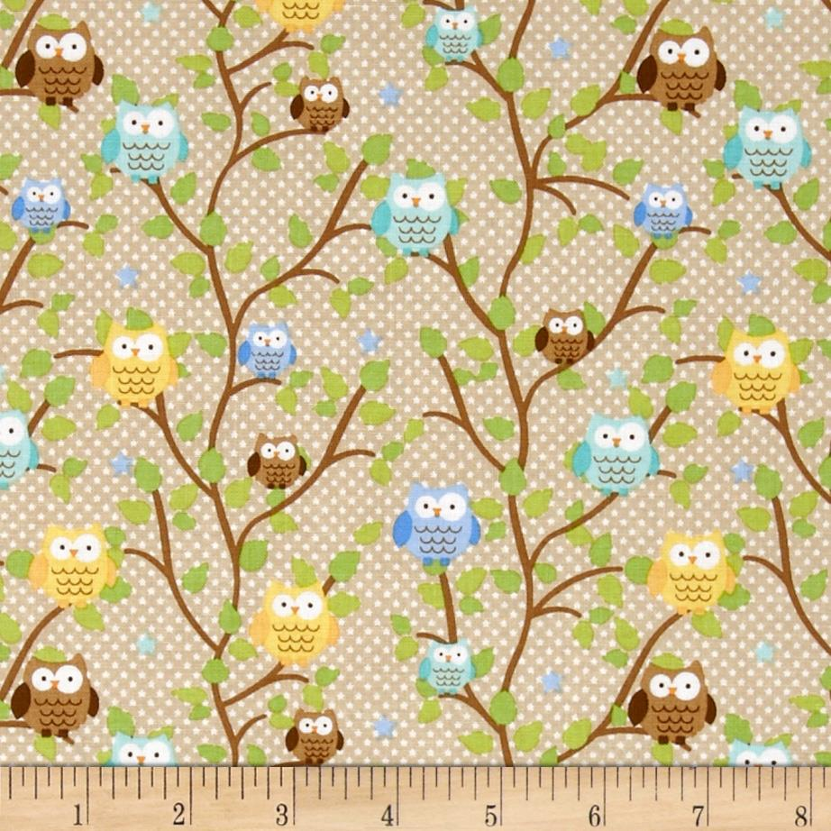 Riley Blake Snips & Snails Owls Brown