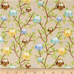 Riley Blake Snips & Snails Owls Brown Fabric