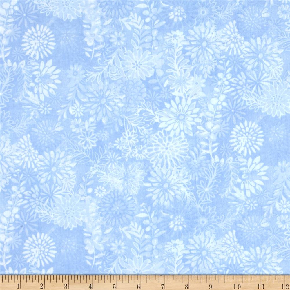 "108"" Wide Quilt Back Packed Floral Blue"