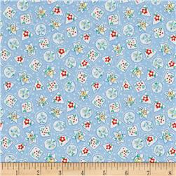 Storybook Christmas Snowflakes & Flowers Blue