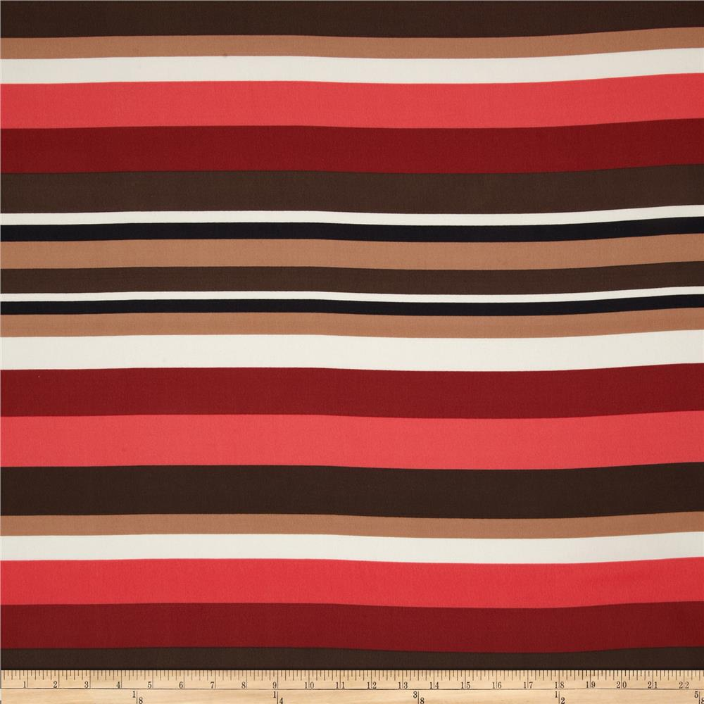 Crepe de Chine Stripe Dark Coral/Brown