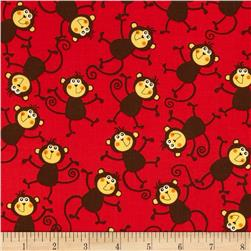 At the Zoo Tossed Monkeys Red Fabric