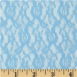 Floral Stretch Lace Baby Blue Fabric