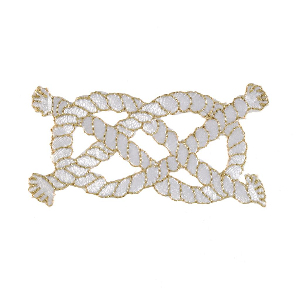 Nautical Knot Applique White/Metallic Gold