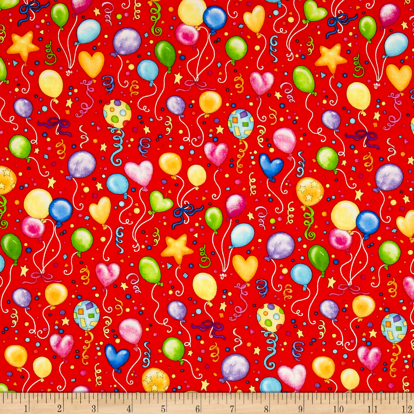Lets Celebrate Balloons Red Fabric