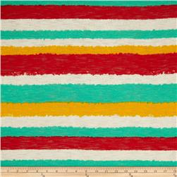 Fine Gauge Slub Hatchi Knit Stripe Green/Red/Yellow