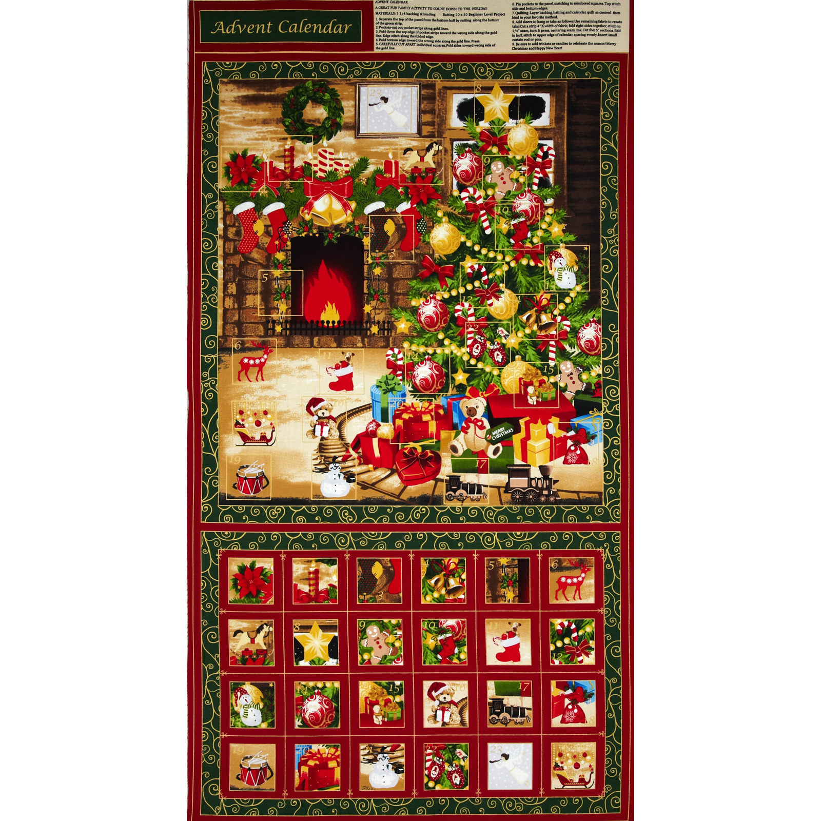 Season's Greetings Advent Calendar Tree Panel Fabric