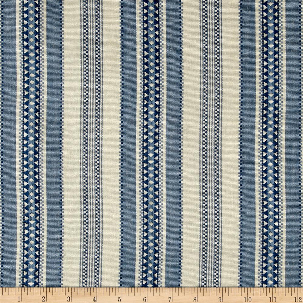 Laura & Kiran Alpine Canvas Jacquard Stripe Blue