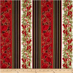 Season's Greetings Candy Cane Rose Stripe Black