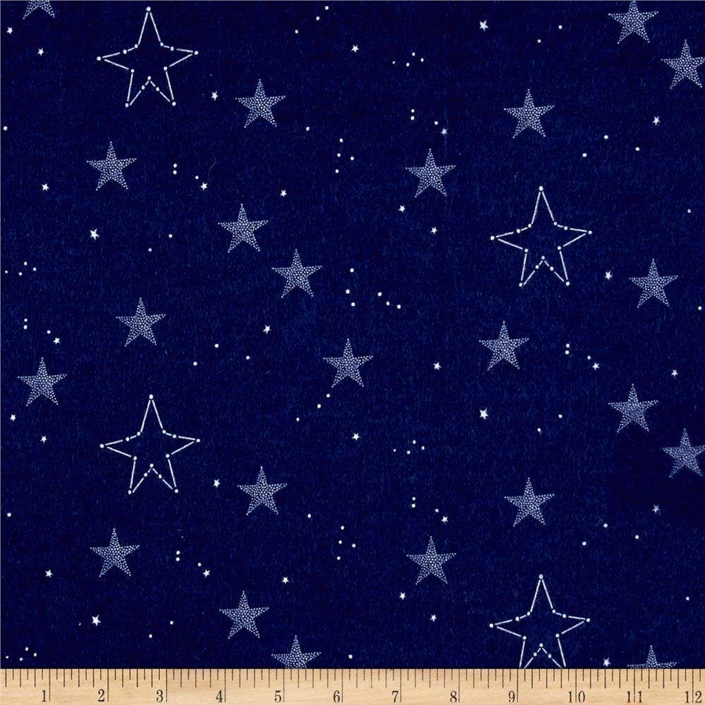 Michael Miller Flannel Sarah Jane Magic Lucky Stars Navy