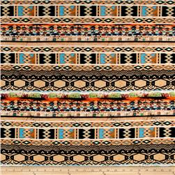 ITY Brushed Jersey Knit Tribal Pattern Orange/Black/Brown