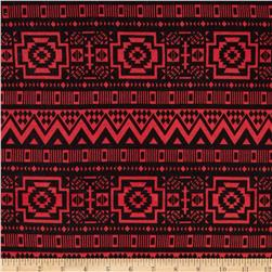Stretch Jersey Knit Tribal Red/Black