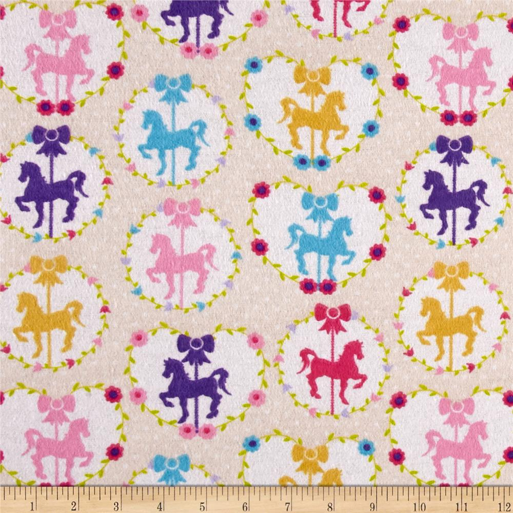 Sweet Horse Carousel Flannel Cream
