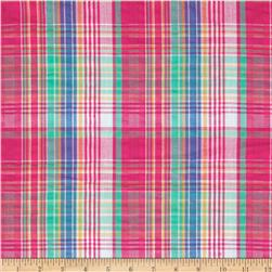 Kaufman Cape Cod Seersucker Plaid Magenta