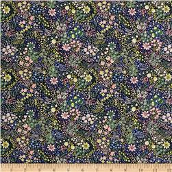 Liberty of London Kensington Crepe de Chine Elderberry Blue/Yellow/Pink