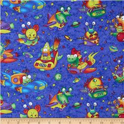 Wild Things Flying Monsters Blue Fabric
