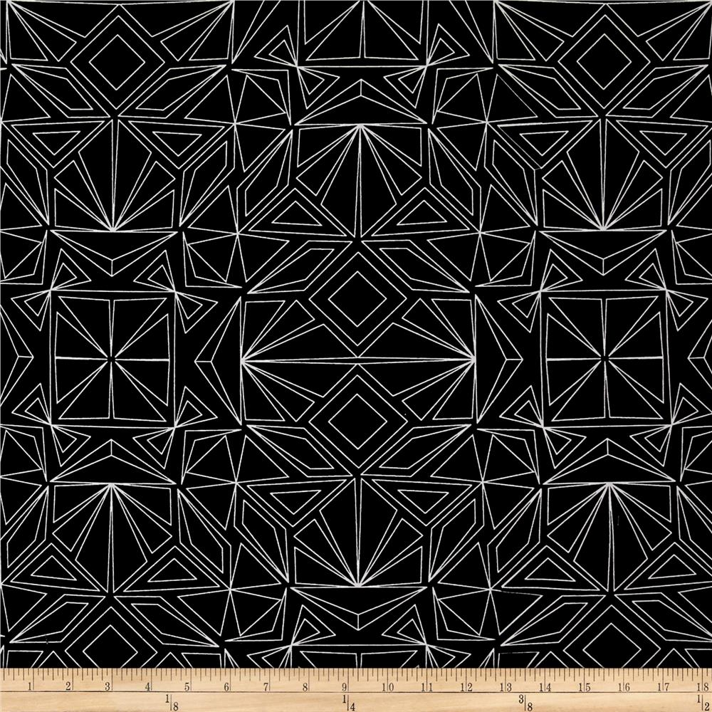 "Kaufman Fractals 108"" Wide Geo Black"