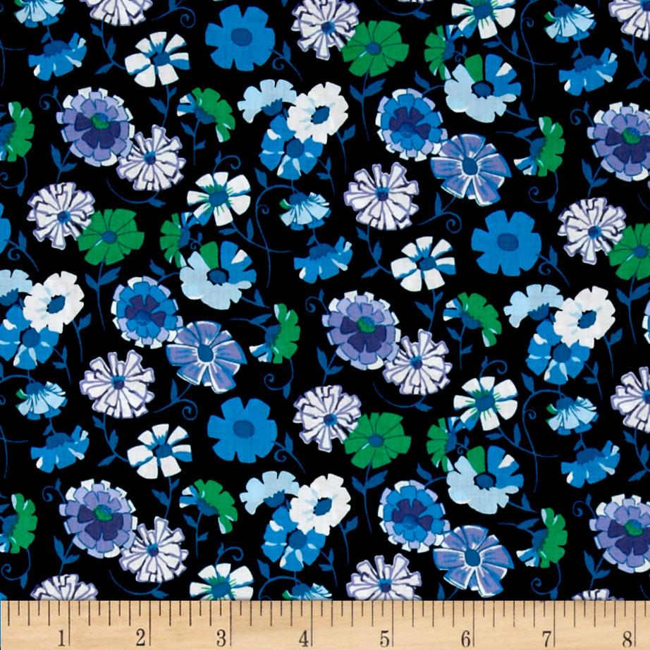 Kaufman London Calling Lawn Abstract Flower Navy