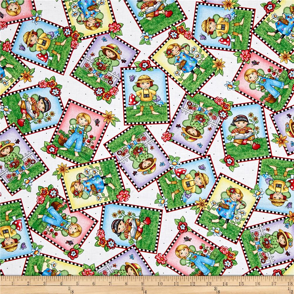 Mary's Fairies Fairy Patch Toss White Fabric