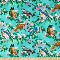 Wild Wings Scenic Cherry Pink Fabric