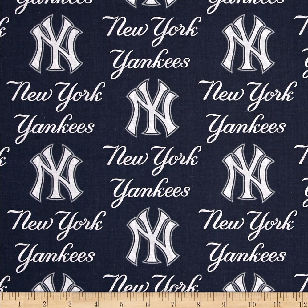 MLB Cotton Broadcloth New York Yankees Blue Fabric By The Yard