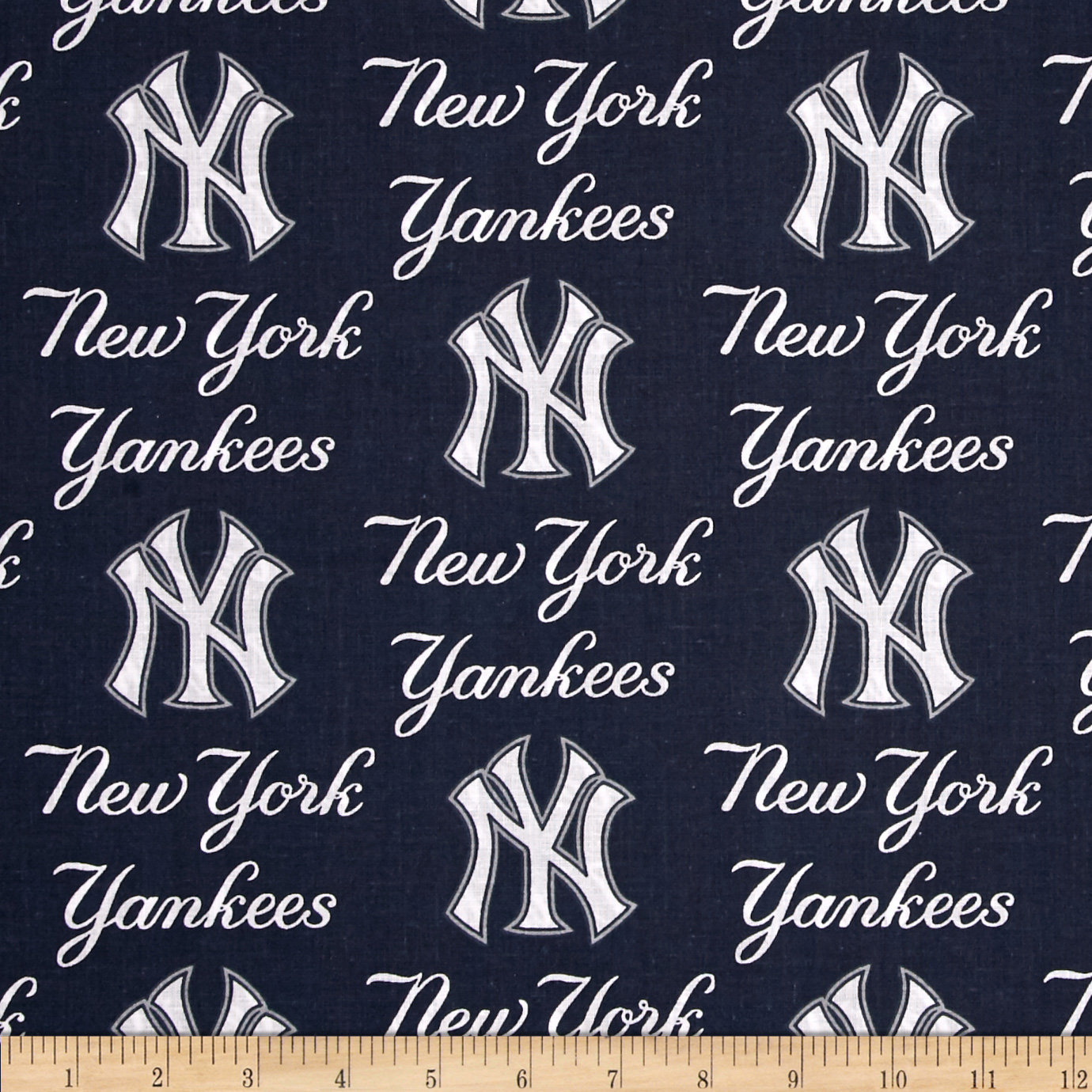 MLB Cotton Broadcloth New York Yankees Blue Fabric by Fabric Traditions in USA
