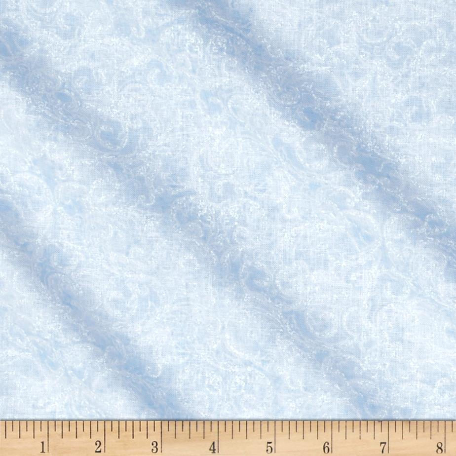 Timeless Treasures Blue Winter Frost Scroll Ice
