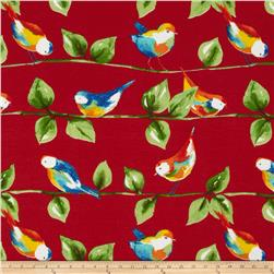 Tempo Indoor/Outdoor Curious Birds Red Fabric
