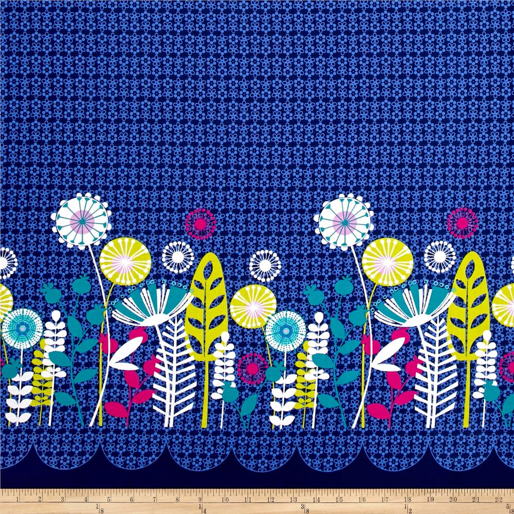Michael Miller Flowers A Plenty Posey Border Midnite Fabric By The Yard