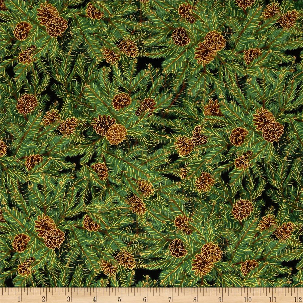 Timeless Treasures Metallic Packed Pine Green