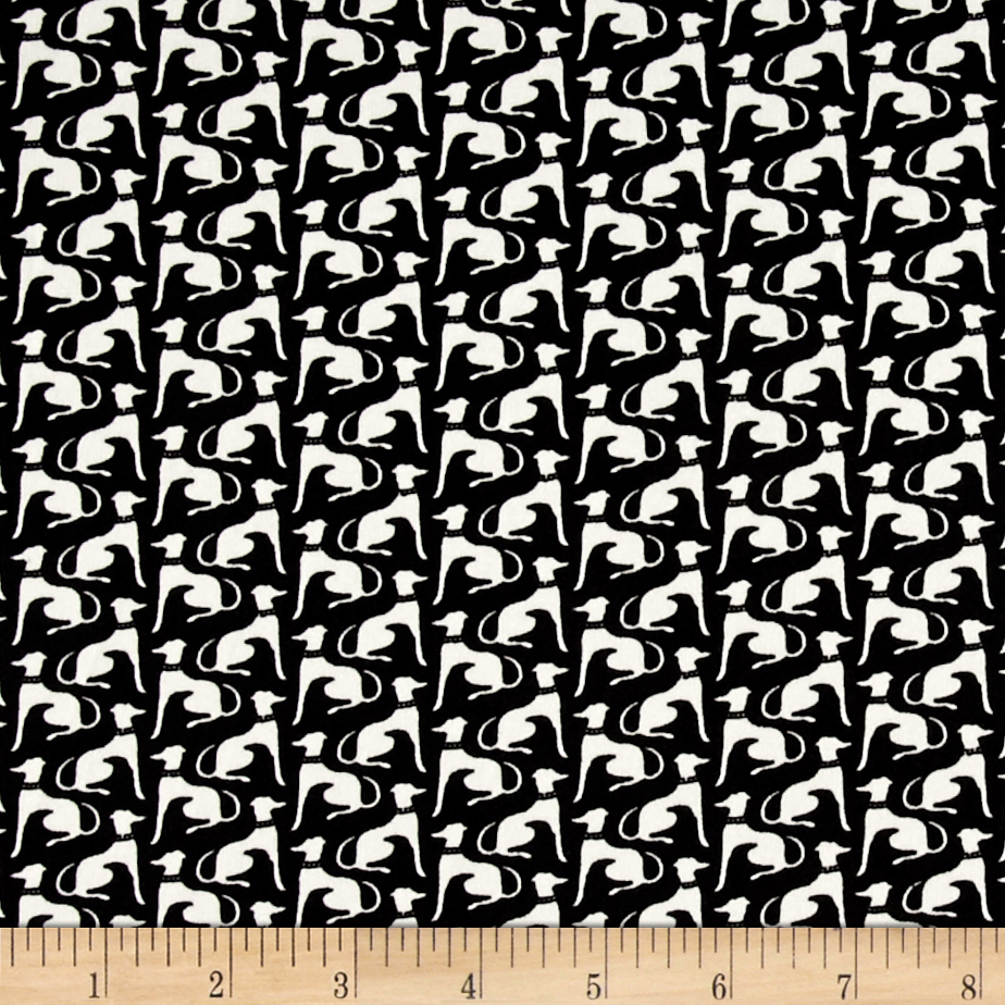 Telio Monaco Stretch ITY Knit Dog Print Black/Ecru Fabric
