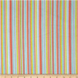 Michael Miller Baby Flannel Zoo Littles -It's a Boy Thing Stripe Raindow