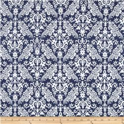 Riley Blake Flannel Medium Damask Navy Fabric