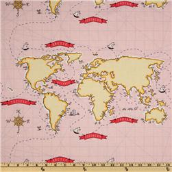 Michael Miller Out To Sea Nautical Map Pink