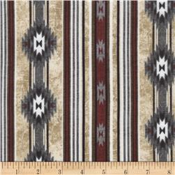 Timeless Treasures Flannel Cabin Rules Cabin Stripe Cream