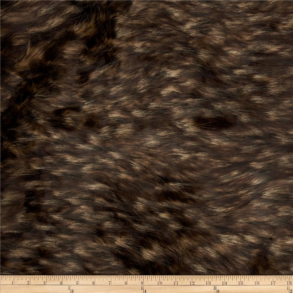 Faux Fur Mountain Fox Fur Taupe/Black