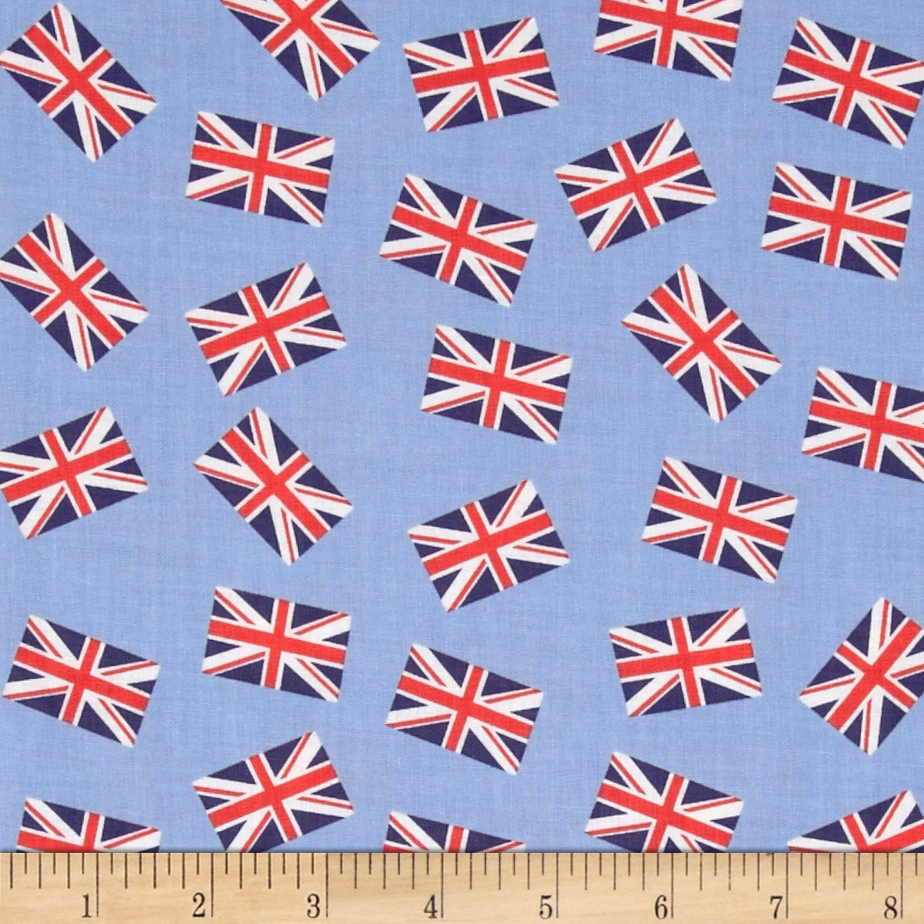 Dear Stella London Calling Union Jacks Blue Fabric